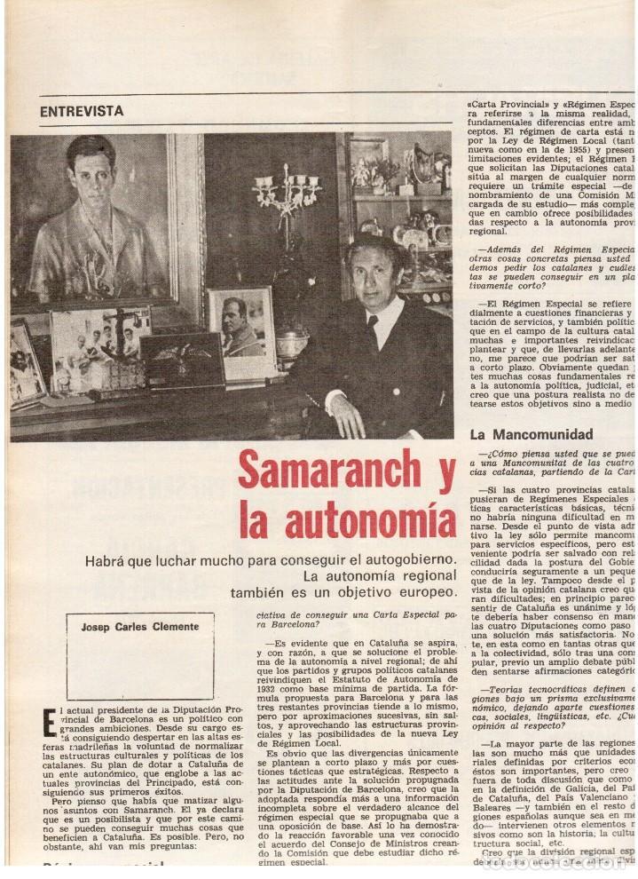 Coleccionismo de Revista Destino: TARRADELLAS. LOS ONOFRI. JOAN BROSSA. PI DE LA SERRA. CELDONI FONOLL.SAMARANCH (VER SUMARIO) - Foto 7 - 113990883