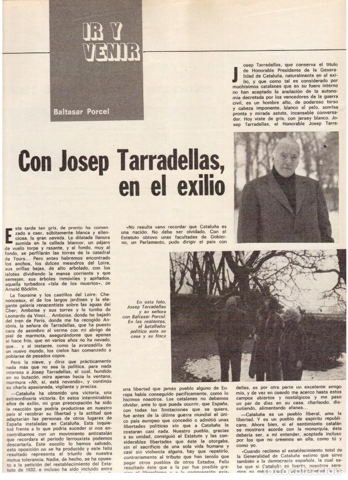 Coleccionismo de Revista Destino: TARRADELLAS. LOS ONOFRI. JOAN BROSSA. PI DE LA SERRA. CELDONI FONOLL.SAMARANCH (VER SUMARIO) - Foto 8 - 113990883