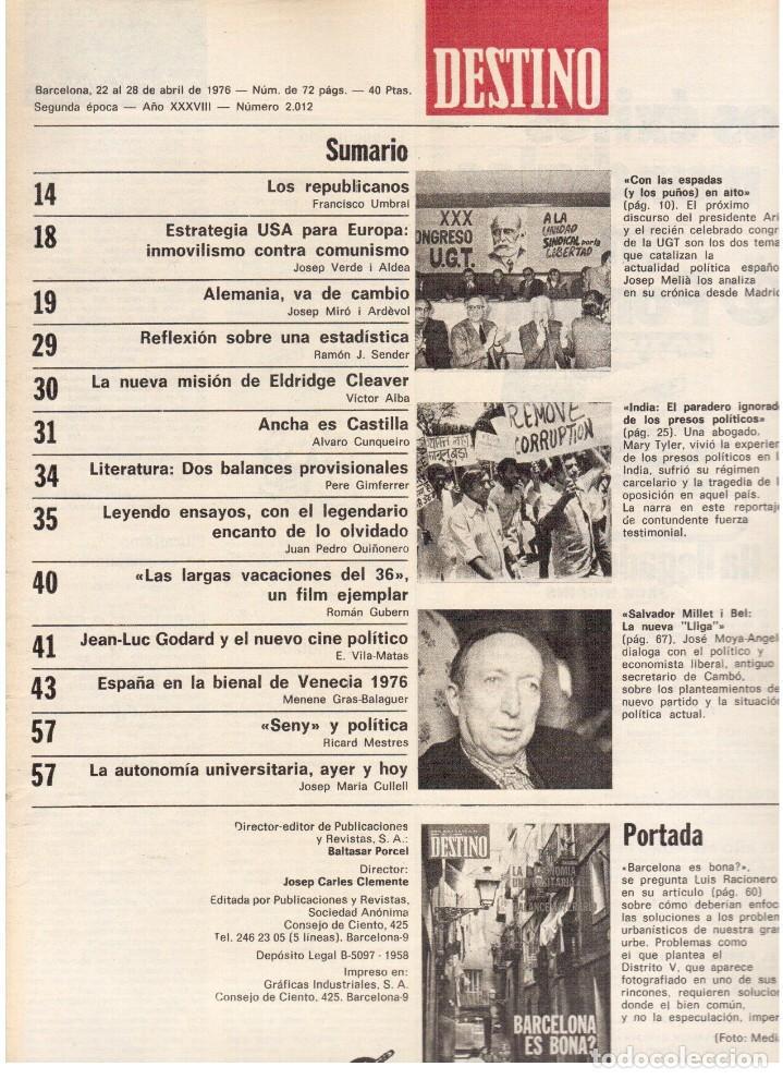 Coleccionismo de Revista Destino: barcelona es bona?, Luis Racionero.Salvador Millet I Bel, La nueva Liga.Joan Miró.Dalí.(ver sumario) - Foto 2 - 114016995