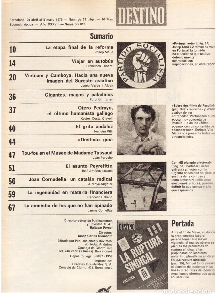 Coleccionismo de Revista Destino: movimientos obreros cataluña.victor alba.francesc layret.manolo mompó. JOAN CORNUDELLA.(ver sumario) - Foto 2 - 114020039