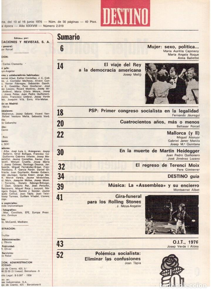 Coleccionismo de Revista Destino: 1976.FEMINISMO EN CATALUÑA.ROLLING STONES.TERENCE MOIX.JORDI PUJOL.TRUFFAUT.HEIDEGGER. (VER SUMARIO) - Foto 2 - 114619663