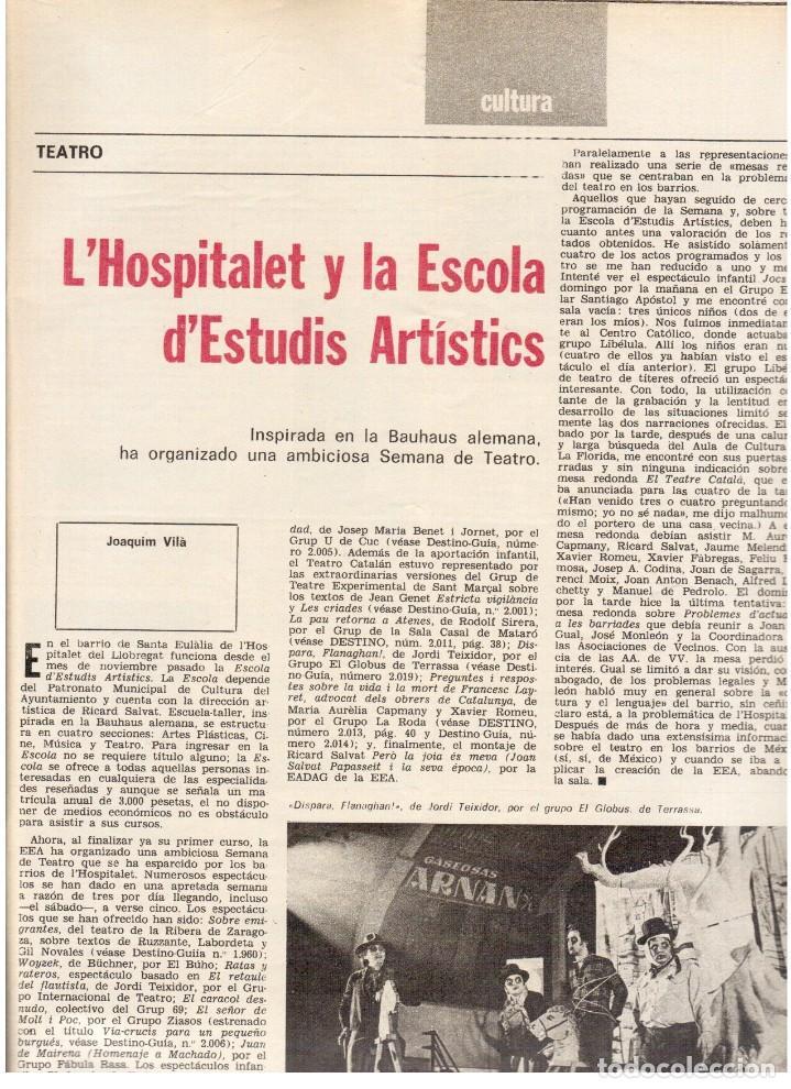 Coleccionismo de Revista Destino: 1976. MONTAL.CASSIUS CLAY.NOAM CHOMSKY.GARCÍA LORCA.JOAN MIRÓ.GAUDÍ. (VER SUMARIO) - Foto 5 - 114648431
