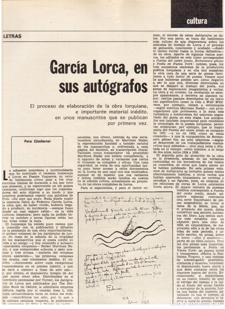 Coleccionismo de Revista Destino: 1976. MONTAL.CASSIUS CLAY.NOAM CHOMSKY.GARCÍA LORCA.JOAN MIRÓ.GAUDÍ. (VER SUMARIO) - Foto 6 - 114648431