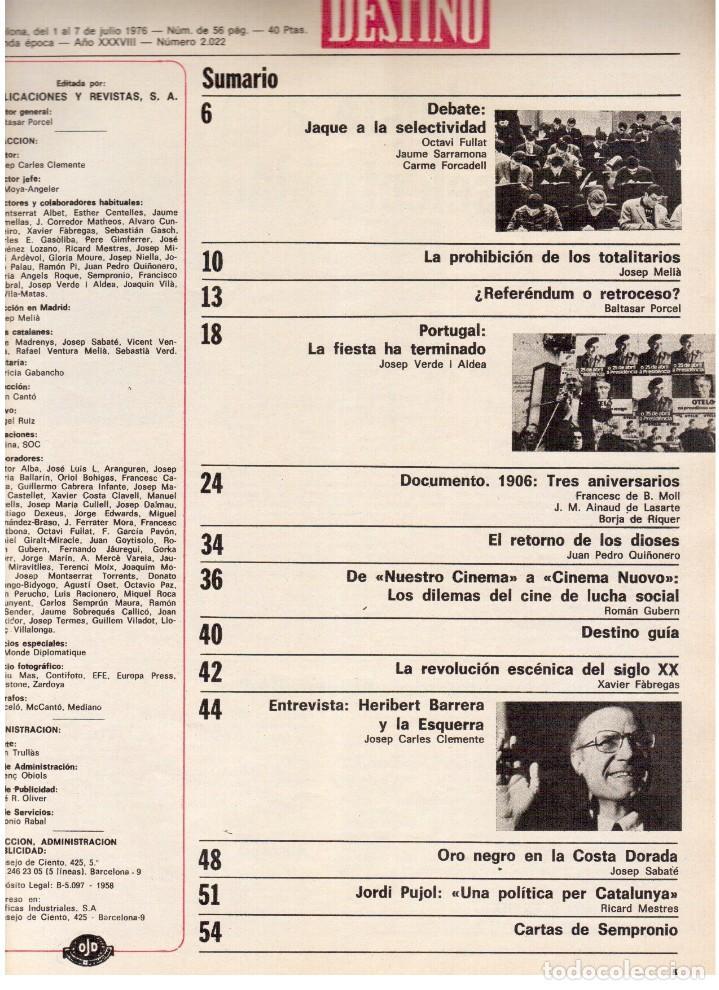 Coleccionismo de Revista Destino: 1976. HERIBERT BARRERA (ERC).GIRONA.JORDI PUJOL.JEAN GENET.SEBASTIÁ GASCH. (VER SUMARIO) - Foto 2 - 114675907