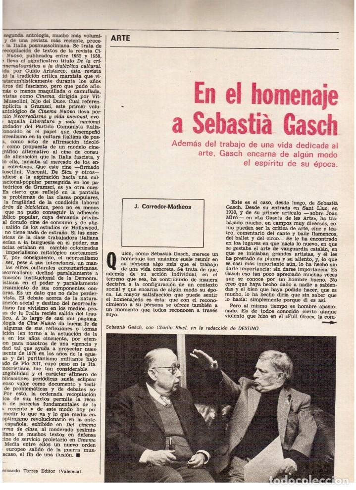 Coleccionismo de Revista Destino: 1976. HERIBERT BARRERA (ERC).GIRONA.JORDI PUJOL.JEAN GENET.SEBASTIÁ GASCH. (VER SUMARIO) - Foto 7 - 114675907