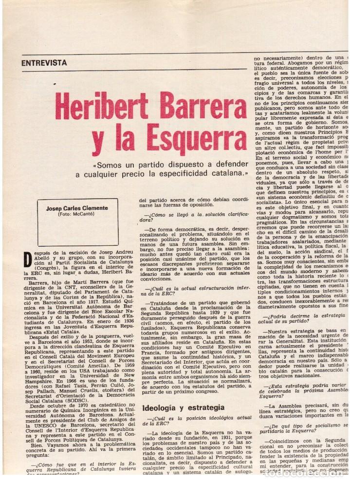 Coleccionismo de Revista Destino: 1976. HERIBERT BARRERA (ERC).GIRONA.JORDI PUJOL.JEAN GENET.SEBASTIÁ GASCH. (VER SUMARIO) - Foto 9 - 114675907