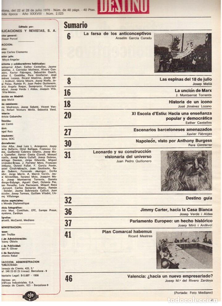 Coleccionismo de Revista Destino: 1976. XI ESCOLA D'ESTIU.JOSEP MELIÁ.PASCUAL DUARTE.NAPOLEÓN.VIAPLANA.PAÍSES CATALANES. (VER SUMARIO) - Foto 2 - 114760059