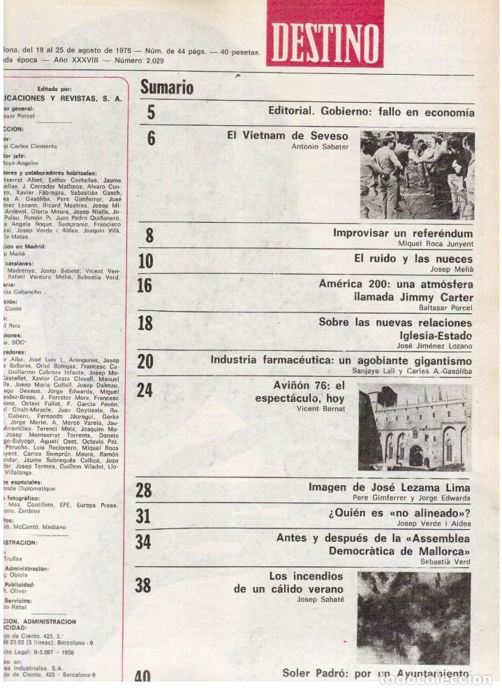 Coleccionismo de Revista Destino: 1976. DEL SINDICALISMO A PERTUR.INDUSTRIA FARMACEUTICA (GIGANTISMO).LEZAMA LIMA. (VER SUMARIO) - Foto 2 - 114773171