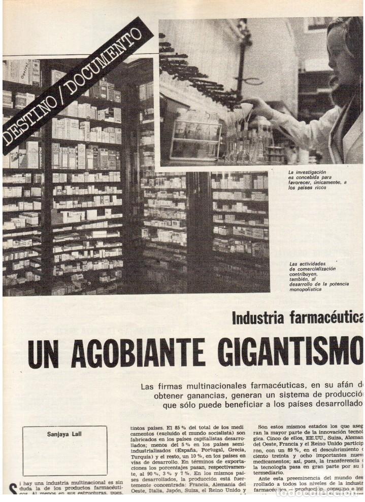 Coleccionismo de Revista Destino: 1976. DEL SINDICALISMO A PERTUR.INDUSTRIA FARMACEUTICA (GIGANTISMO).LEZAMA LIMA. (VER SUMARIO) - Foto 4 - 114773171