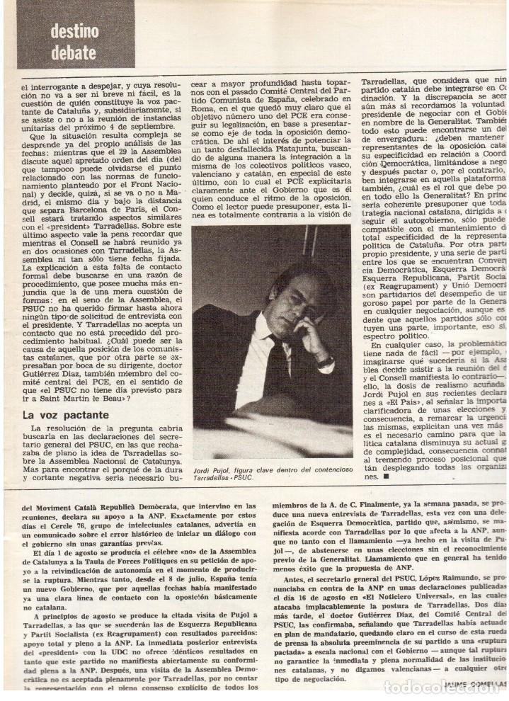 Coleccionismo de Revista Destino: 1976. TARRADELLAS. JORDI PUJOL.POLONIA.PAISES CATALANES. (VER SUMARIO) - Foto 4 - 114775099
