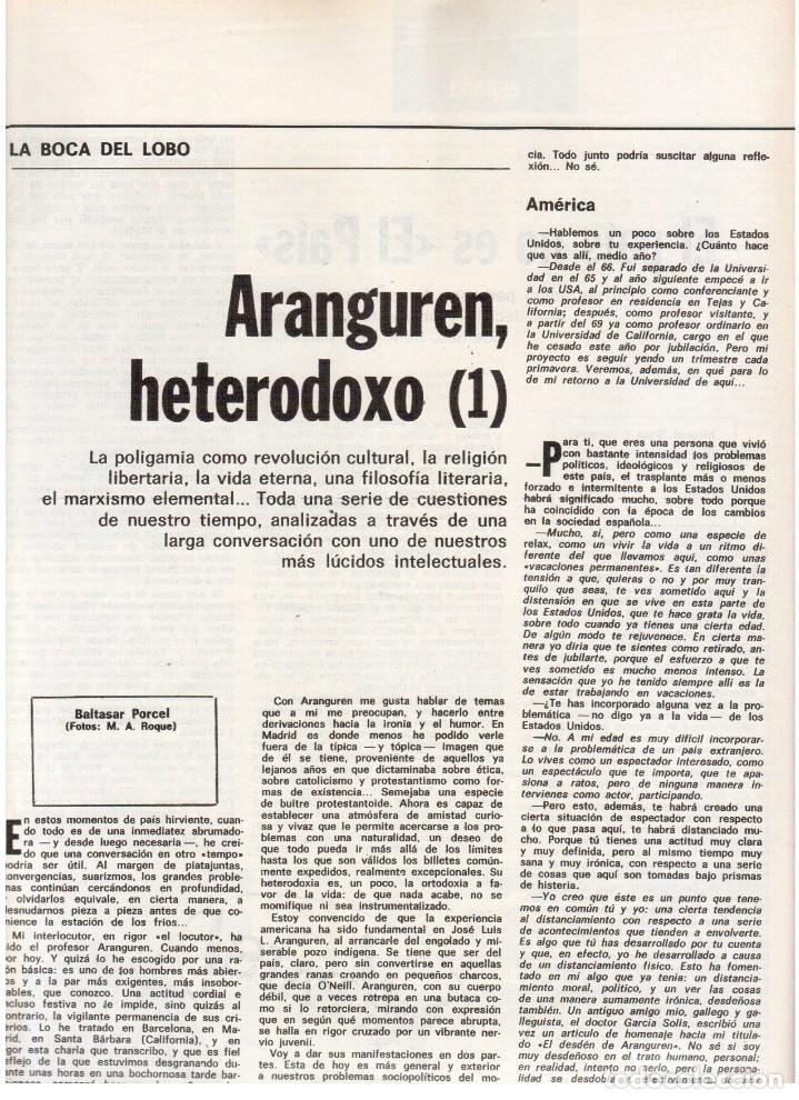 Coleccionismo de Revista Destino: 1976. EL PAIS, MIQUEL ROCA I JUNYENT.ARANGUREN.L'ONZE DE SETEMBRE, JORDI PUJOL.WARHOL. (VER SUMARIO) - Foto 5 - 114892263