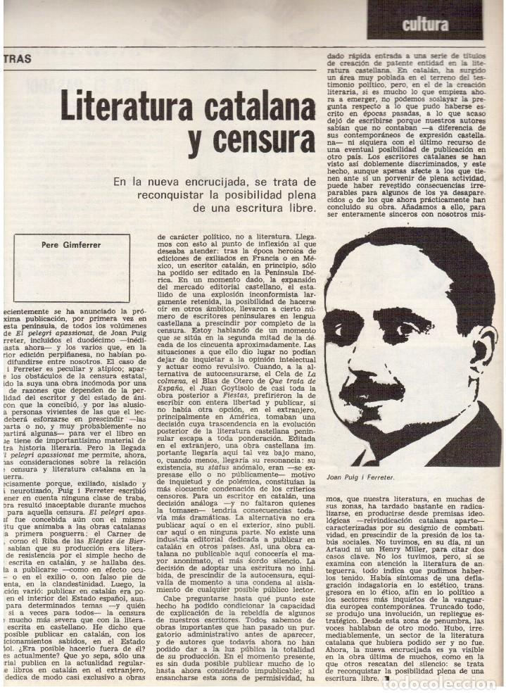 Coleccionismo de Revista Destino: 1976. EL PAIS, MIQUEL ROCA I JUNYENT.ARANGUREN.L'ONZE DE SETEMBRE, JORDI PUJOL.WARHOL. (VER SUMARIO) - Foto 8 - 114892263