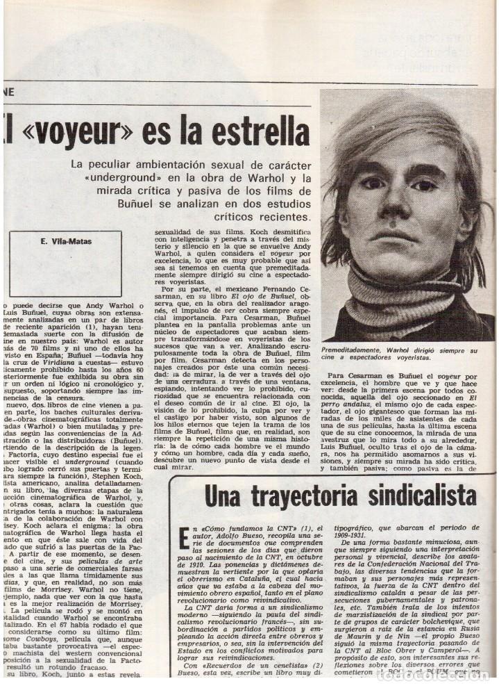 Coleccionismo de Revista Destino: 1976. EL PAIS, MIQUEL ROCA I JUNYENT.ARANGUREN.L'ONZE DE SETEMBRE, JORDI PUJOL.WARHOL. (VER SUMARIO) - Foto 9 - 114892263