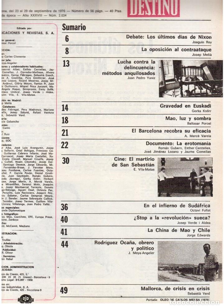 Coleccionismo de Revista Destino: 1976. LA EROTOMANIA.BANCA CATALANA.BARÇA.CARLES RAHOLA.RAIMON.PAISES CATALANES. (VER SUMARIO) - Foto 2 - 114931983