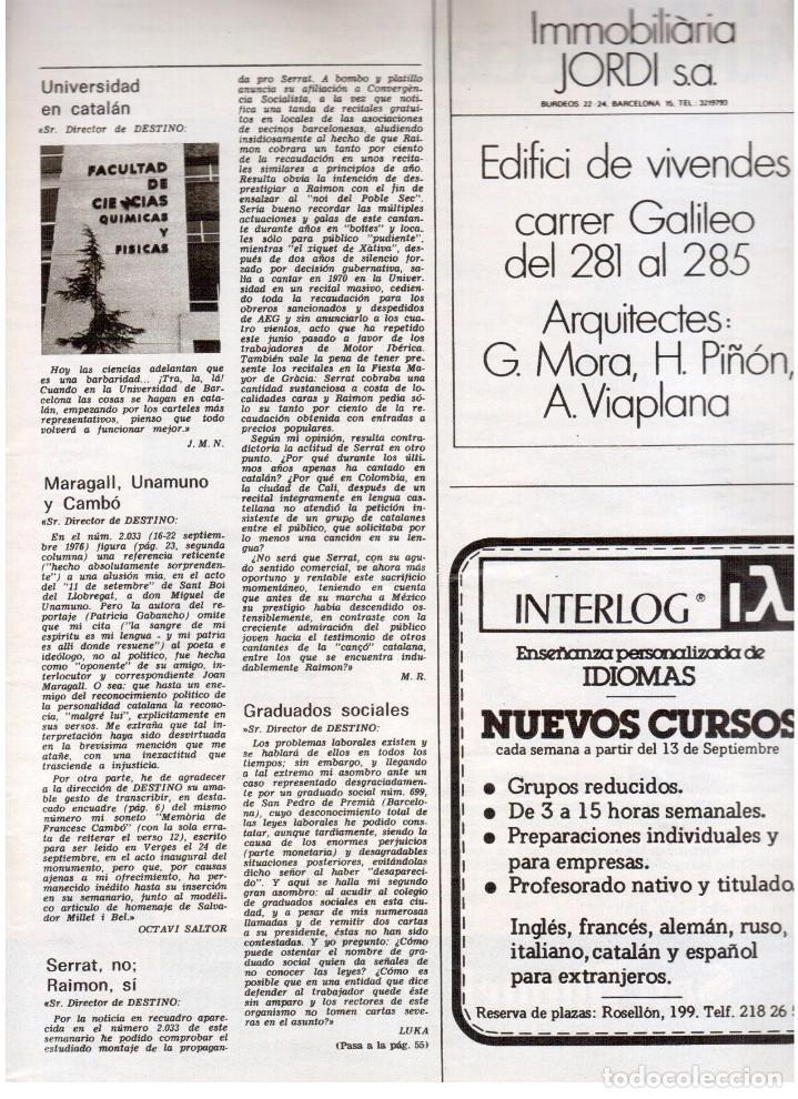 Coleccionismo de Revista Destino: 1976. FEDERICA MONTSENY. SERRAT NO;RAIMON SI.CASTELAO.LOS PANERO. PAISES CATALANES. (VER SUMARIO) - Foto 2 - 114934999
