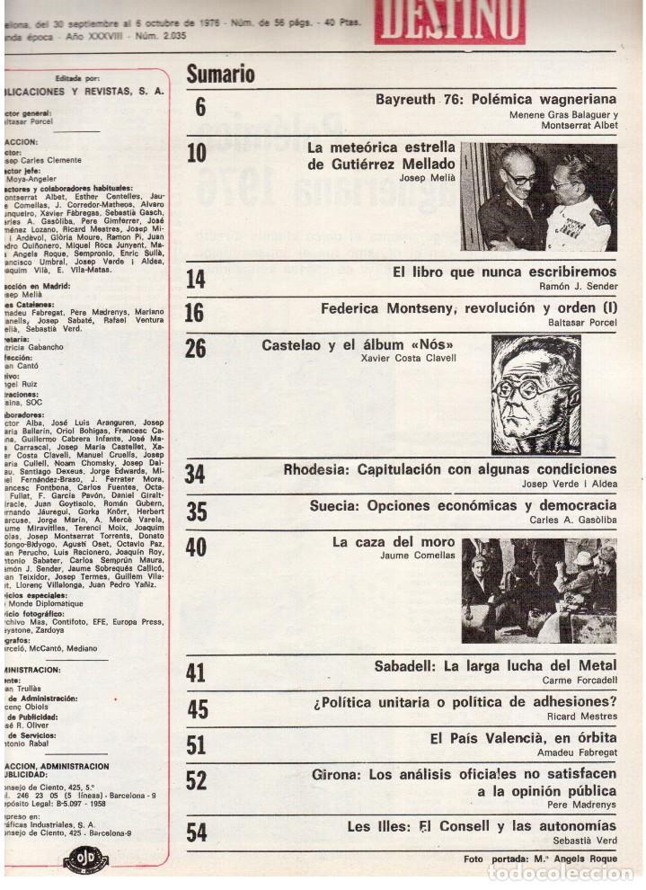 Coleccionismo de Revista Destino: 1976. FEDERICA MONTSENY. SERRAT NO;RAIMON SI.CASTELAO.LOS PANERO. PAISES CATALANES. (VER SUMARIO) - Foto 3 - 114934999