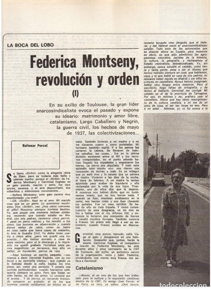 Coleccionismo de Revista Destino: 1976. FEDERICA MONTSENY. SERRAT NO;RAIMON SI.CASTELAO.LOS PANERO. PAISES CATALANES. (VER SUMARIO) - Foto 4 - 114934999
