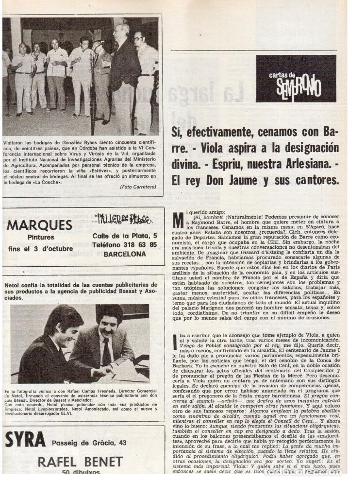 Coleccionismo de Revista Destino: 1976. FEDERICA MONTSENY. SERRAT NO;RAIMON SI.CASTELAO.LOS PANERO. PAISES CATALANES. (VER SUMARIO) - Foto 10 - 114934999