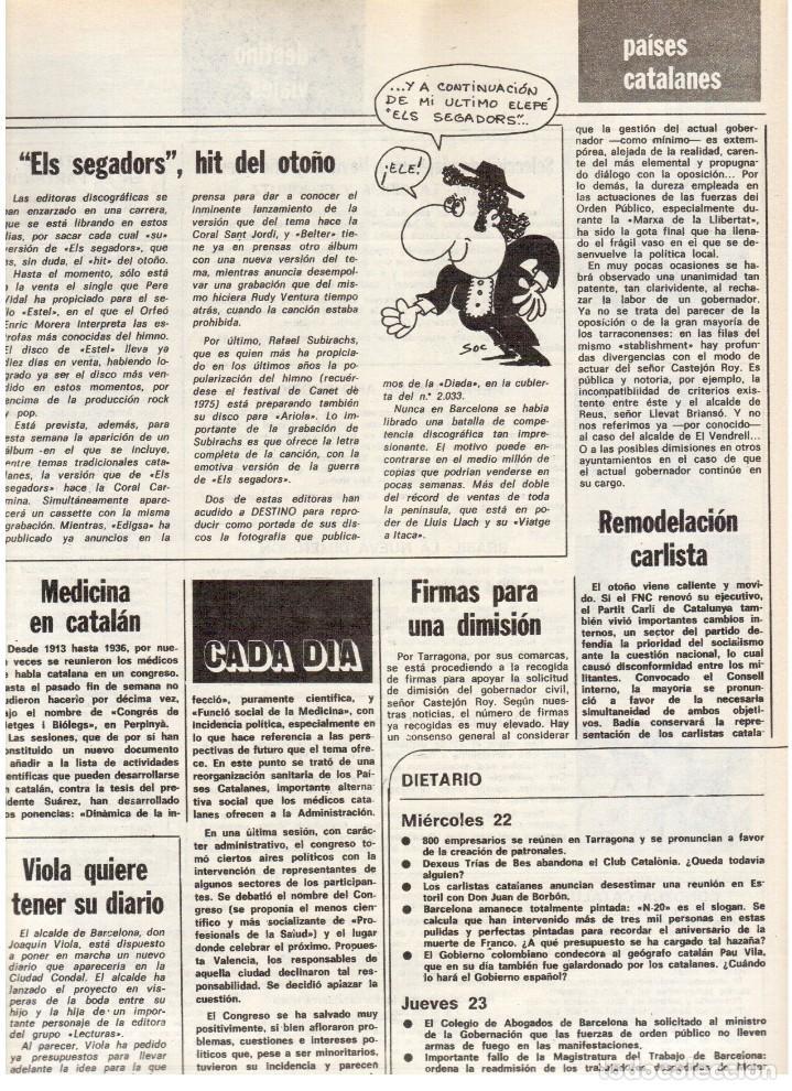 Coleccionismo de Revista Destino: 1976. FEDERICA MONTSENY. SERRAT NO;RAIMON SI.CASTELAO.LOS PANERO. PAISES CATALANES. (VER SUMARIO) - Foto 11 - 114934999