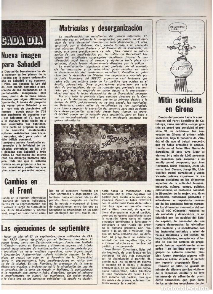 Coleccionismo de Revista Destino: 1976. FEDERICA MONTSENY. SERRAT NO;RAIMON SI.CASTELAO.LOS PANERO. PAISES CATALANES. (VER SUMARIO) - Foto 13 - 114934999