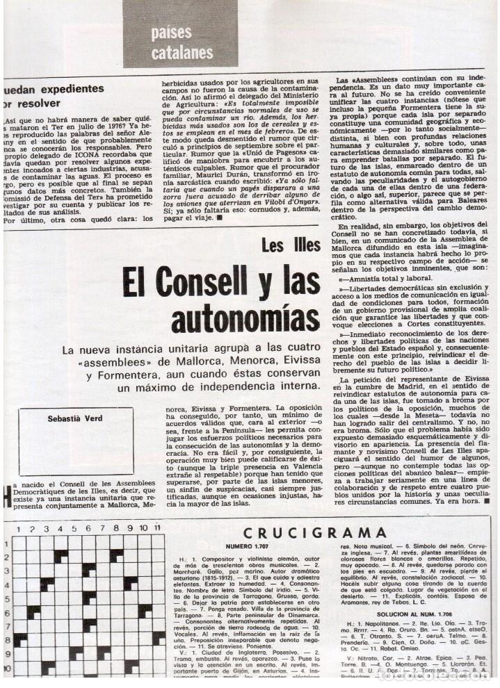 Coleccionismo de Revista Destino: 1976. FEDERICA MONTSENY. SERRAT NO;RAIMON SI.CASTELAO.LOS PANERO. PAISES CATALANES. (VER SUMARIO) - Foto 14 - 114934999