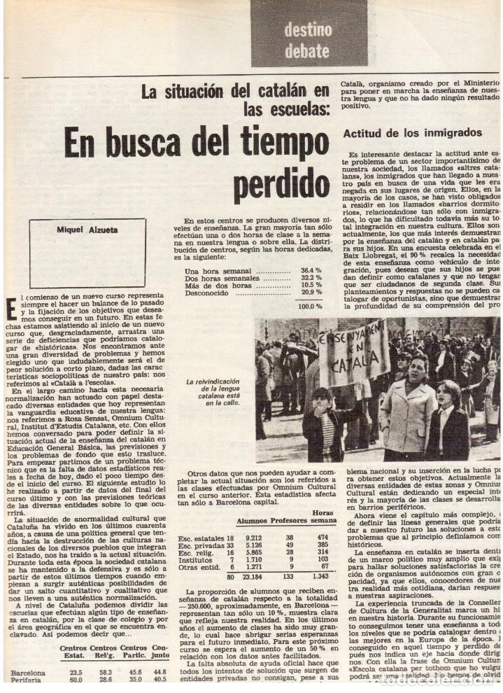 Coleccionismo de Revista Destino: 1976. TARRADELLAS.LENGUA CATALANA.ANTES Y DESPUÉS DEL 25 DE ABRIL.INDEPENDENCIA GALES. (VER SUMARIO) - Foto 4 - 114936759