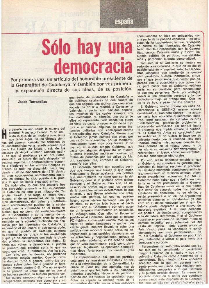 Coleccionismo de Revista Destino: 1976. TARRADELLAS.LENGUA CATALANA.ANTES Y DESPUÉS DEL 25 DE ABRIL.INDEPENDENCIA GALES. (VER SUMARIO) - Foto 5 - 114936759