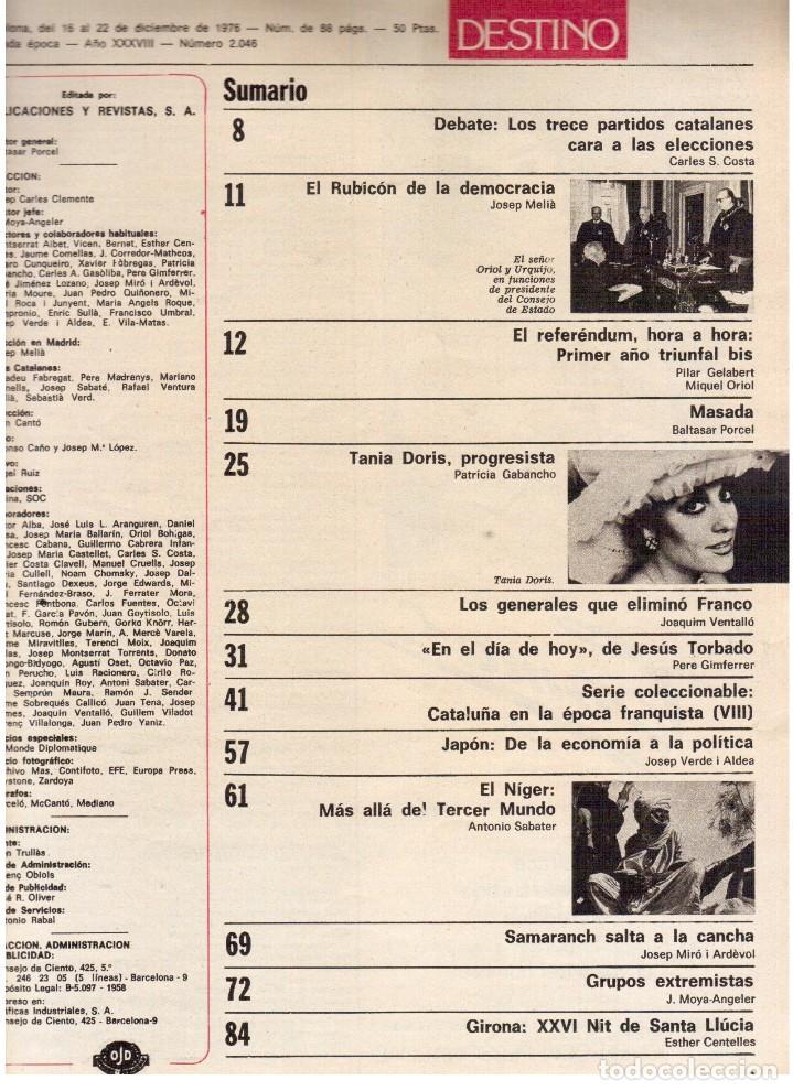 Coleccionismo de Revista Destino: 1976.TANIA DORIS.13 PARTIDOS CATALANES.PAU CASALS.EXILIADOS CATALANES.THEODORAKIS. (VER SUMARIO) - Foto 2 - 114937863
