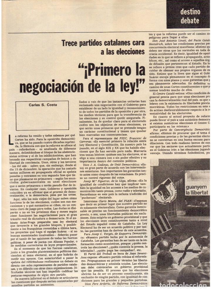 Coleccionismo de Revista Destino: 1976.TANIA DORIS.13 PARTIDOS CATALANES.PAU CASALS.EXILIADOS CATALANES.THEODORAKIS. (VER SUMARIO) - Foto 3 - 114937863