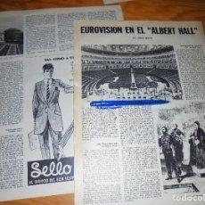 Coleccionismo de Revista Destino: RECORTE PRENSA : EUROVISION EN EL ALBERT HALL. DESTINO, ABRIL 1968. Lote 125671475