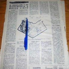 Coleccionismo de Revista Destino: RECORTE PRENSA : EL ROSELLON Y SU MONUMENTO A MOSEN CINTO. DESTINO, DCMBRE 1962. Lote 125672187