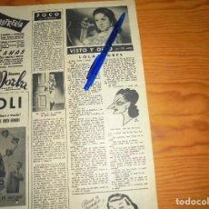 Coleccionismo de Revista Destino: RECORTE PRENSA : VISTO Y OIDO : LOLA FLORES. DESTINO, DCMBRE 1956. Lote 126188475
