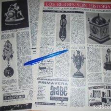 Coleccionismo de Revista Destino: RECORTE PRENSA : COLECCION DE RELOJES ANTIGUOS . DESTINO, ABRIL 1961. Lote 126628575