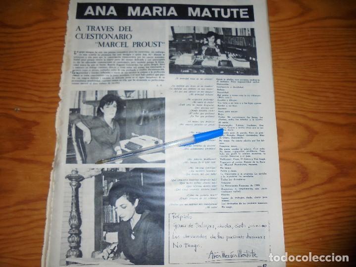 RECORTE PRENSA : ANA MARIA MATUTE: A TRAVES DEL CUESTIONARIO DE MARCEL PROUST. DESTINO, DCMBRE 1962 (Coleccionismo - Revistas y Periódicos Modernos (a partir de 1.940) - Revista Destino)