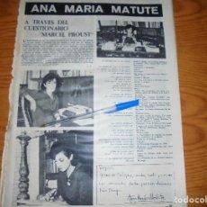 Coleccionismo de Revista Destino: RECORTE PRENSA : ANA MARIA MATUTE: A TRAVES DEL CUESTIONARIO DE MARCEL PROUST. DESTINO, DCMBRE 1962. Lote 126935791