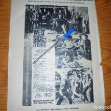 Coleccionismo de Revista Destino: PUBLICIDAD DE LA PELICULA : WEST SIDE STORY. NATALIE WOOD. DESTINO, DCMBRE 1962. Lote 126936435
