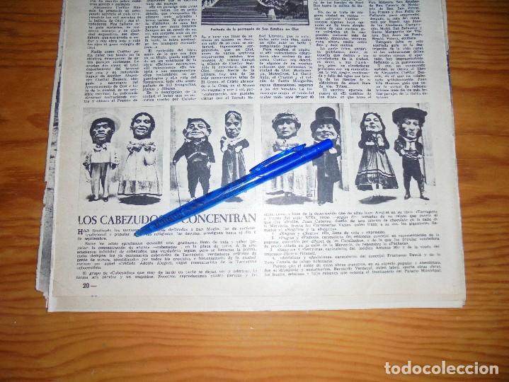 RECORTE PRENSA : LOS CABEZUDOS DE LAS FIESTAS DE SAN MAGIN. TARRAGONA. DESTINO, AGSTO 1961 (Coleccionismo - Revistas y Periódicos Modernos (a partir de 1.940) - Revista Destino)