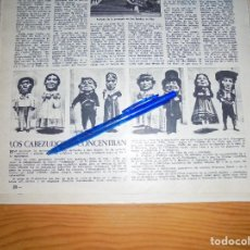 Coleccionismo de Revista Destino: RECORTE PRENSA : LOS CABEZUDOS DE LAS FIESTAS DE SAN MAGIN. TARRAGONA. DESTINO, AGSTO 1961. Lote 127565551