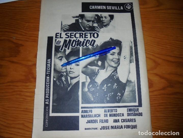 PUBLICIDAD PELICULA : EL SECRETO DE MONICA : CARMEN SEVILLA, ADOLFO MARSILLACH. DESTINO, JULIO 1962 (Coleccionismo - Revistas y Periódicos Modernos (a partir de 1.940) - Revista Destino)