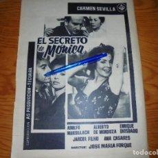 Coleccionismo de Revista Destino: PUBLICIDAD PELICULA : EL SECRETO DE MONICA : CARMEN SEVILLA, ADOLFO MARSILLACH. DESTINO, JULIO 1962. Lote 127822063