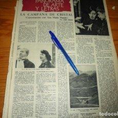Colecionismo da Revista Destino: RECORTE PRENSA : CONVERSACION CON ANA MARIA MATUTE : LA CAMPANA DE CRISTAL. DESTINO, ENERO 1960. Lote 128418075
