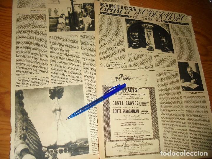 RECORTE PRENSA : BARCELONA, CAPITAL DEL MODERNISMO. JOSE PLA. DESTINO, FBRERO 1950 (Coleccionismo - Revistas y Periódicos Modernos (a partir de 1.940) - Revista Destino)