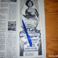 Coleccionismo de Revista Destino: PUBLICIDAD PELICULA : ANA DE BROOKLYN. GINA LOLLOBRIGIDA, VITTORIO DE SICA. DESTINO, MARZO 1959. Lote 128724627