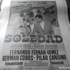 Coleccionismo de Revista Destino: PUBLICIDAD PELICULA : SOLEDAD. GERMAN COBOS, PILAR CANSINO, FERNAN-GOMEZ. DESTINO, MARZO 1959. Lote 128725235
