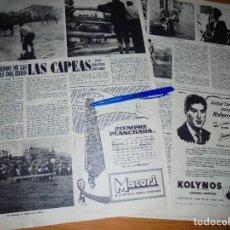Coleccionismo de Revista Destino: RECORTE PRENSA : RECUERDOS TIERRAS DEL EBRO : LAS CAPEAS. DESTINO, ENERO 1957. Lote 128960487