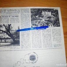 Coleccionismo de Revista Destino: RECORTE PRENSA : EL PALACIO DE LES EURES ( CASA GALLART) EN BARCELONA. DESTINO, ENERO 1957. Lote 128960903