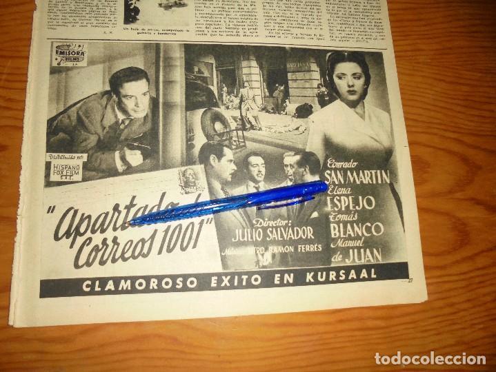 PUBLICIDAD PELICULA : APARTADO DE CORREOS 1001.CONRADO SAN MARTIN,TOMAS BLANCO. DESTINO, DCMBRE 1950 (Coleccionismo - Revistas y Periódicos Modernos (a partir de 1.940) - Revista Destino)