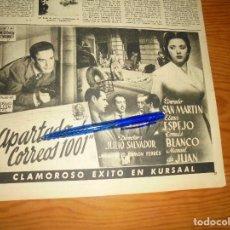 Collectionnisme de Magazine Destino: PUBLICIDAD PELICULA : APARTADO DE CORREOS 1001.CONRADO SAN MARTIN,TOMAS BLANCO. DESTINO, DCMBRE 1950. Lote 129500707