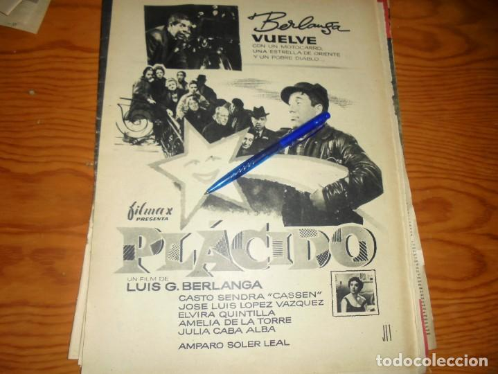 PUBLICIDAD PELICULA : PLACIDO, DE LUIS BERLANGA. DESTINO , OCTBRE 1961 (Coleccionismo - Revistas y Periódicos Modernos (a partir de 1.940) - Revista Destino)