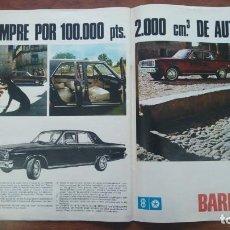 Coleccionismo de Revista Destino: BARREIROS COMPRE POR 100.000 PESETAS 2000 CM3 DE AUTOMOVIL 2 HOJAS PUBLICIDAD AÑO 1966. Lote 140729522